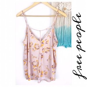 Free People Strappy Camisole Tank Floral Pink